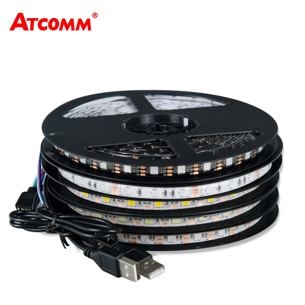 5V USB 5050 RGB LED Strip Light 60 LEDs/Meter 0.5M 1M 2M ...
