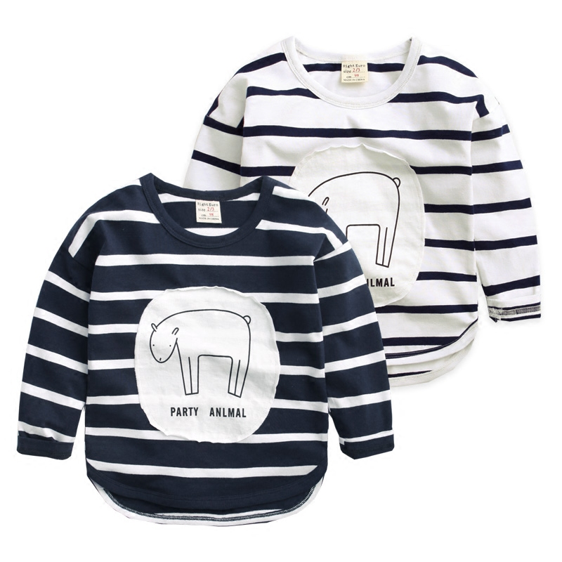 2016 Children's spring clothing baby boy girl striped cotton long sleeve T-shirt kid girl autumn casual children blouses 1034 26