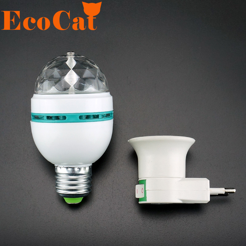 Festival E27 3W 110v-220v LED Stage Light Christmas Colorful Auto Rotating RGB Bulb Party effect Lamp Disco Magic Ball  EU Plug [mingben] led bulb e27 rgb stage 16 colorful change lamp spotlight 110v 127v 220v home party wedding with ir remote