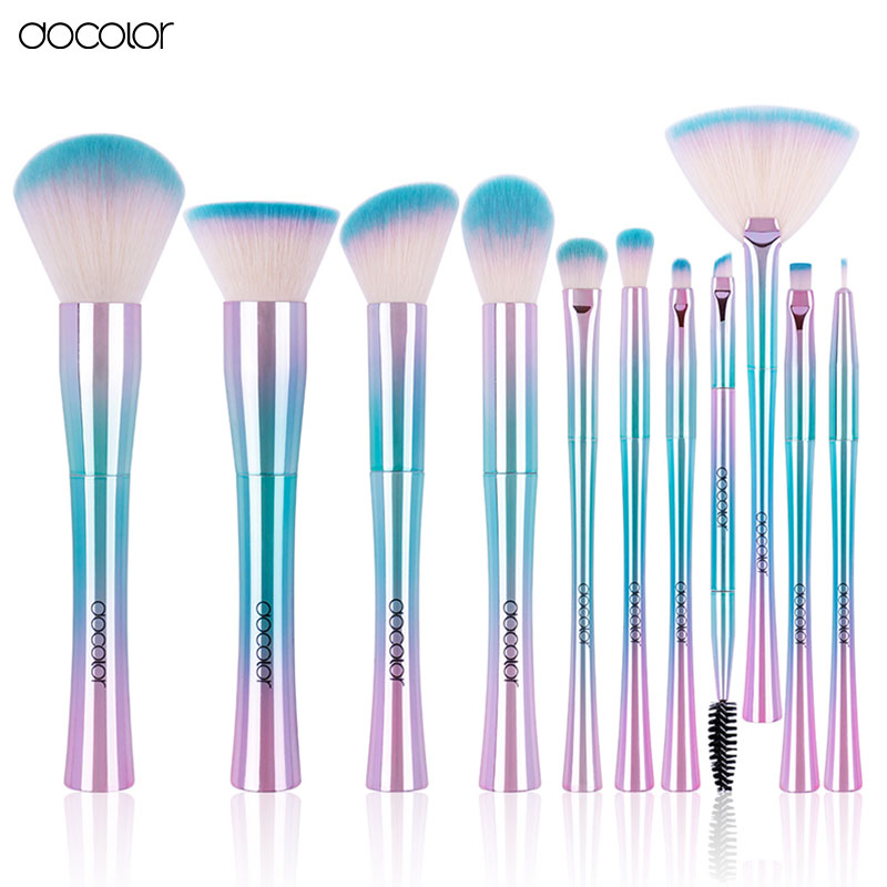 Docolor 11pcs High Quality Soft Synthetic Hair Professional Foundation Makeup Brushes Eyeliner Lip Contour Highlight Brushes все цены