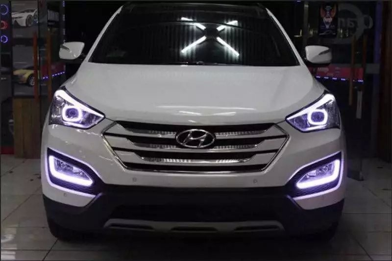 LED DRL daytime running light for Hyundai IX45 New santa fe 2013-15, Parking Accessories, pure white, with yellow turn light seintex 85749 hyundai santa fe 2013 black