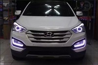 LED DRL daytime running light for Hyundai IX45 New santa fe 2013 15, Parking Accessories, pure white, with yellow turn light