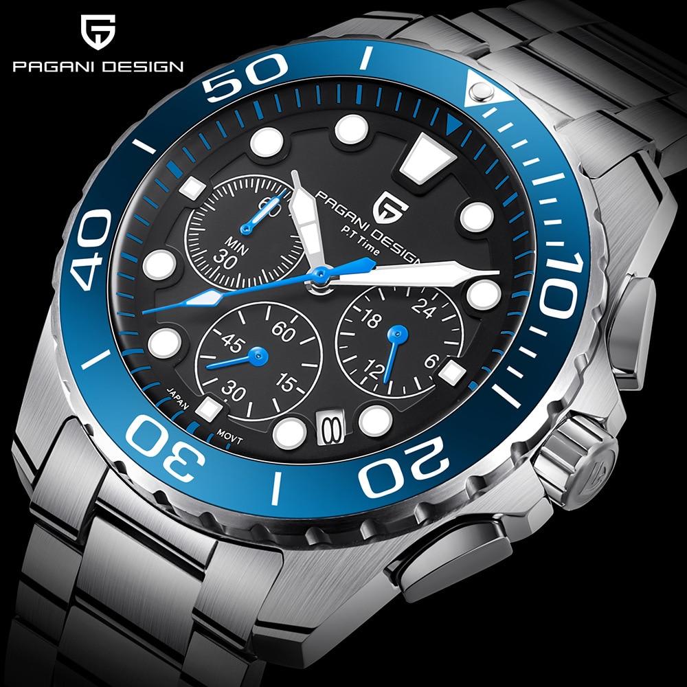 pagani design marke uhr männer chronograph quarz armbanduhr voller