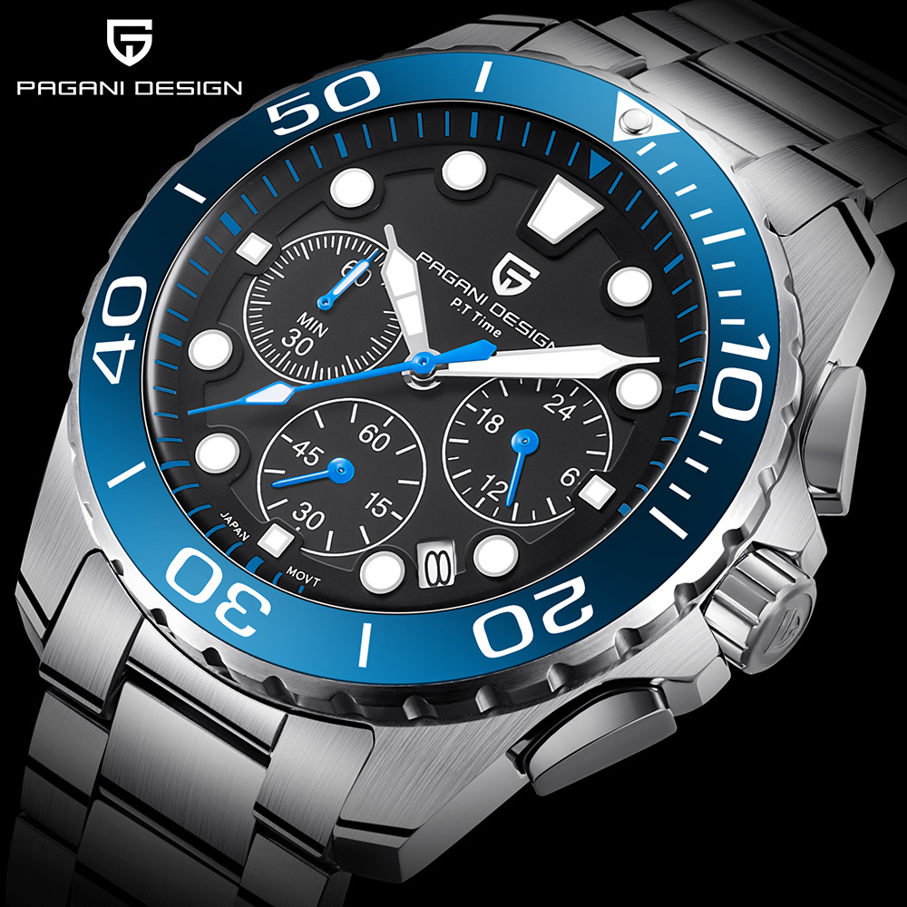 PAGANI DESIGN Marke Uhr Männer Chronograph Quarz Armbanduhr Voller Stahl Wasserdicht Sport Herren Uhren männer Uhr reloj hombre