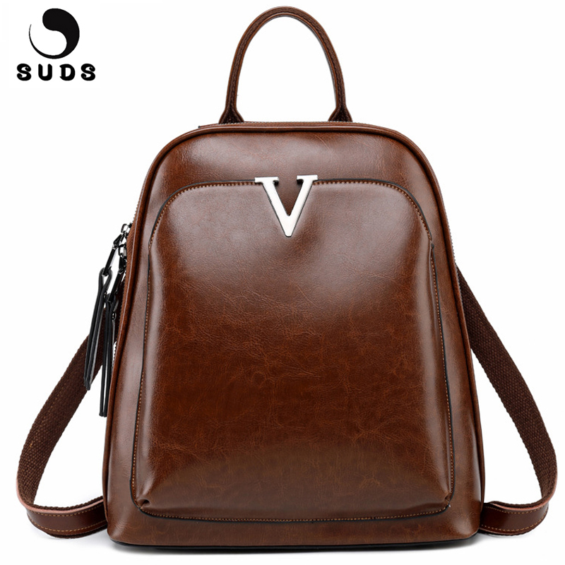 SUDS Brand Oil Wax Cow Leather Backpack Women Vintage Student Backpack Large Capacity Female Travel Shoulder