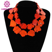 Fabulous Stone Jewelry Chunky Orange Stone Necklace Baroque Style Costume Jewelry Free Shipping TN044