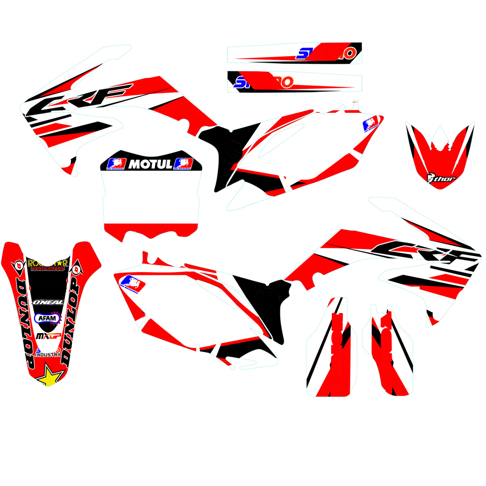 Customized Number GRAPHICS BACKGROUNDS DECAL STICKER For Honda CRF250R CRF250 CRF2010 - 2013 CRF450 CRF450R 2009 2010 2011 2012