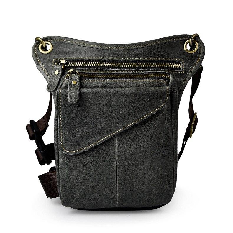 Vintage Genuine Leather Waist Drop Leg Packs Men Fashion Waist Shoulder Bag Male High Quality Small Pouch Cowhide Phone Bags aerlis men women canvas retro 6inch phone portable small waist bag