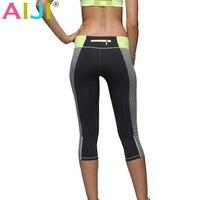 Işıltılı cep Kadınlar Yoga Tozluk Kapriler Elastik Ince Kırpılmış Sıcak Yüksek Waisted Yaz Sonbahar Koşu Spor yedi pantolon