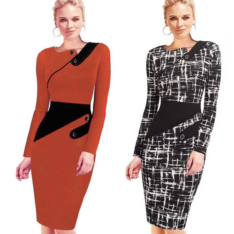 49a38608cbb ... Black Dress Tunic Women Formal Work Office Sheath Patchwork Line  Asymmetrical Neck Knee Length Plus Size ...