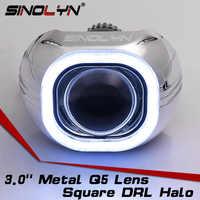 Kit de proyector de bi-xenón de lentes delanteras SINOLYN H4 Q5 D2S HID lamparas cuadradas COB LED Angel Eyes Lens accesorios de coche actualización DIY