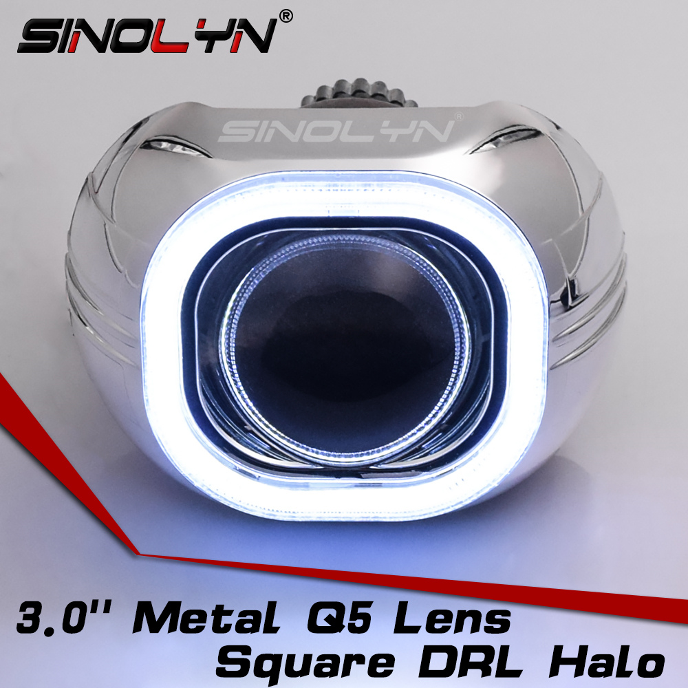 SINOLYN Metal 3.0'' H4 Q5 D2S Bi xenon Lenses HID Projector Lens Headlight Kit Square COB LED Angel Eyes Halo White Car-styling sinolyn 35w 3 0 inch bi xenon square lens projector hid headlights full metal headlamp glasses lenses diy kit hi lo car styling