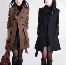 2015 New Women Trench Woolen Coat Winter Slim Double Breasted Overcoat Winter Coats Long Outerwear for Women QB323