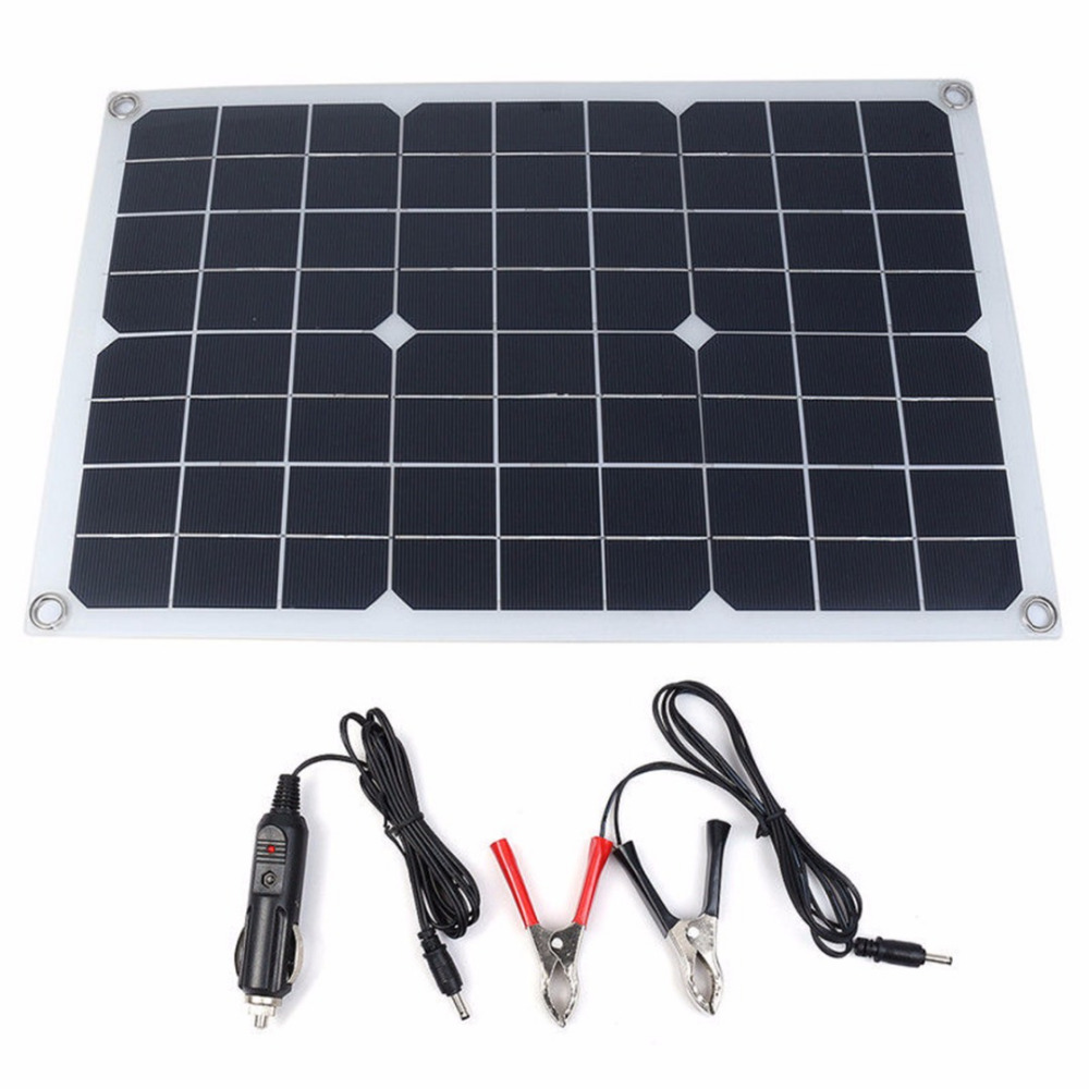 1pc Battery Solar Panel USB 20W 12V/5V DC 420*280mm With Cable Crocodile Clip For Phone Lighting Car Charger Mayitr