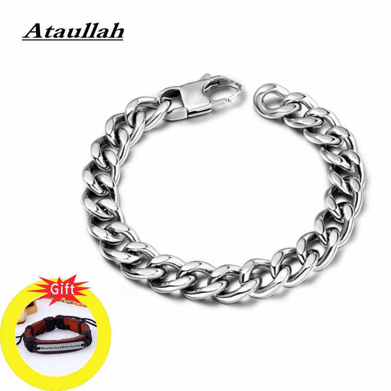 Ataullah Hop Curb Chain link Cubano Pulseira Titanium Aço Pulseira Pulseiras Moda Jóias Acessório para Homens Macho BW030