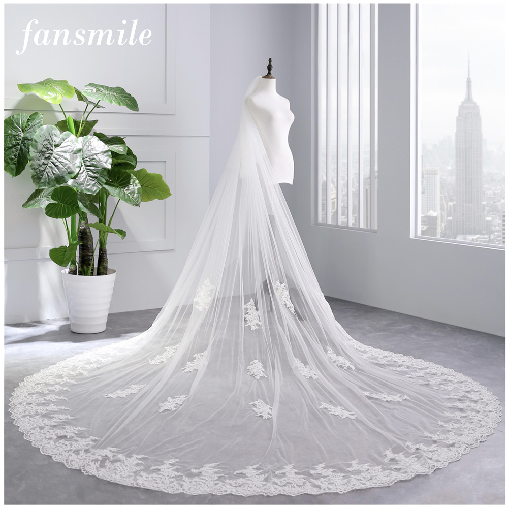 Fansmile 3.5 M White Ivory Cathedral Wedding Veils Long Lace Edge Bridal Veil with Comb Wedding Accessories Bride Veil FSM-446V