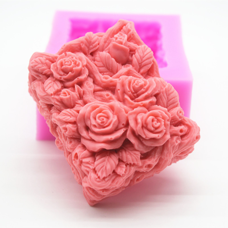 3D Rose Rectangle Soap Silicone Mold Lace Flower Cake Mould Handmade Soap Making Mould