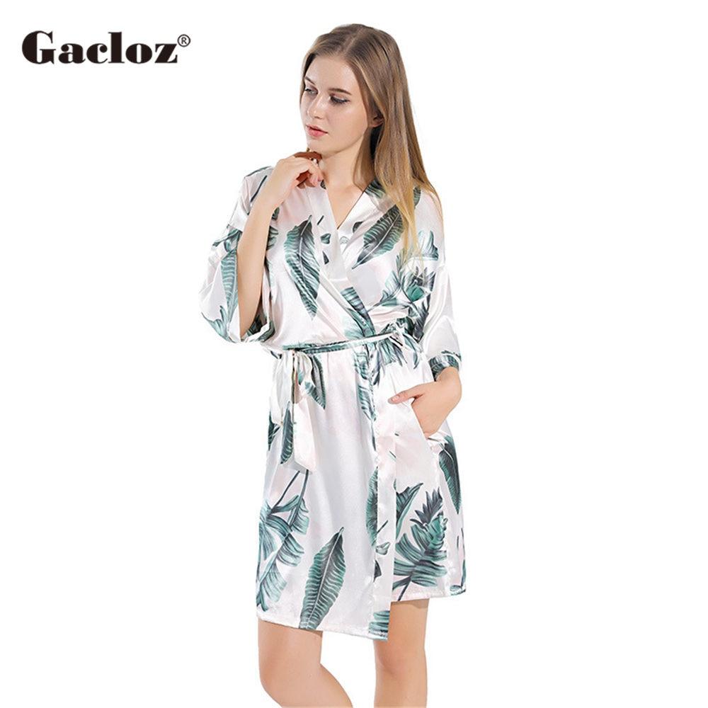 Gacloz Women Silk Satin Bathrobe Leaf Print Kimono Robe Nightdress Ladies Plus Size Sleepwear Nightgown bata mujer