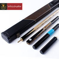 Weichster 3/4 Jointed Handcraft Snooker Pool Cue Ash Shaft Ebony BurlWood Case Extension Set