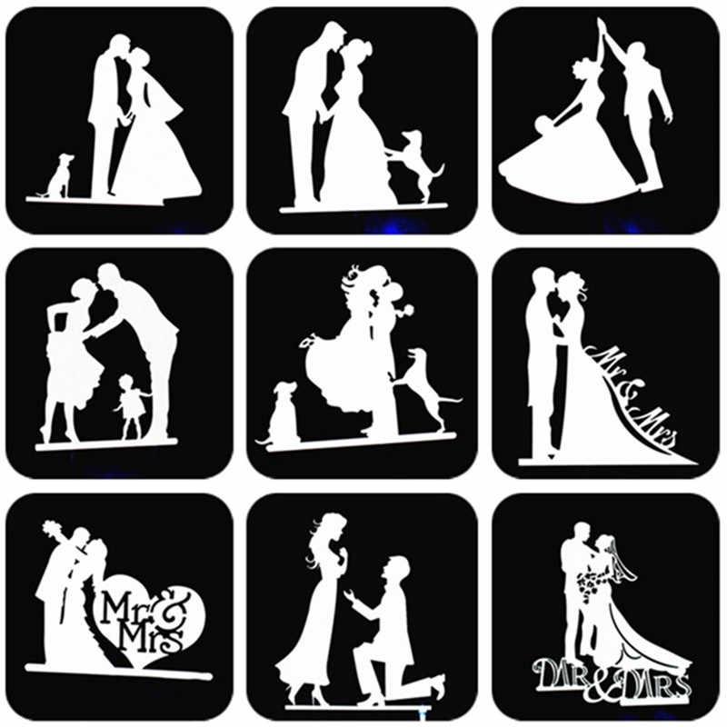 Decoración de la parte superior del pastel de boda Mr Mrs, decoraciones de boda para novia y novio, suministros para fiestas, adornos de plata para cupcakes, adornos para Tartas, deshierbe