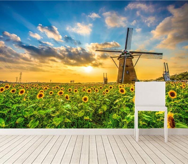 Kustom 3D mural, Pemandangan wallpaper bunga matahari terbit dan