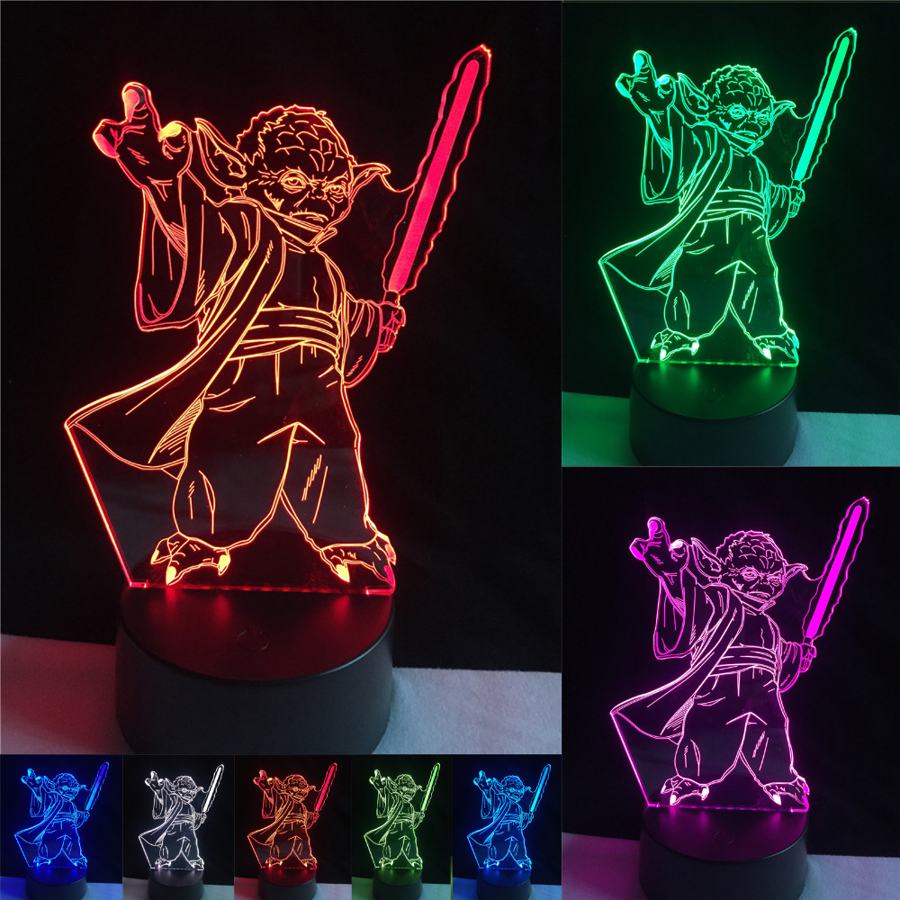 Fashion Star Wars 3D Bulbing Light LED Master Yoda Jedi Leader Lighting Mood Man Boy's Home Decor Bedroom Table Lamp Nightlight светильник светодиодный 3dlightfx star wars yoda face 3d