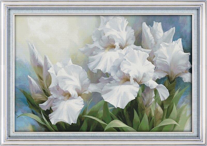 Joy sunday Iris, compté imprimé sur tissu DMC 14CT 11CT kits de point de croix, broderie couture ensembles décor à la maison