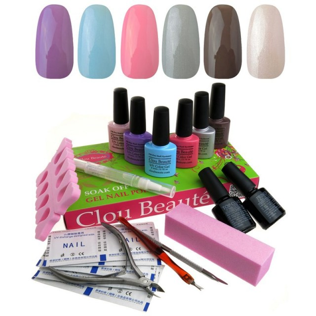 Clou Beaute Soak Off  Gel Nail Polish Top & Base Coat Set Lady Gift Color UV Gel
