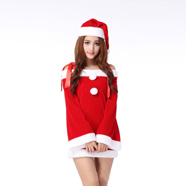 16d4cc73fee New Design Christmas Costumes Women Female Sexy Red Dress Cos Christmas  Party Club Sweet Miss Santa
