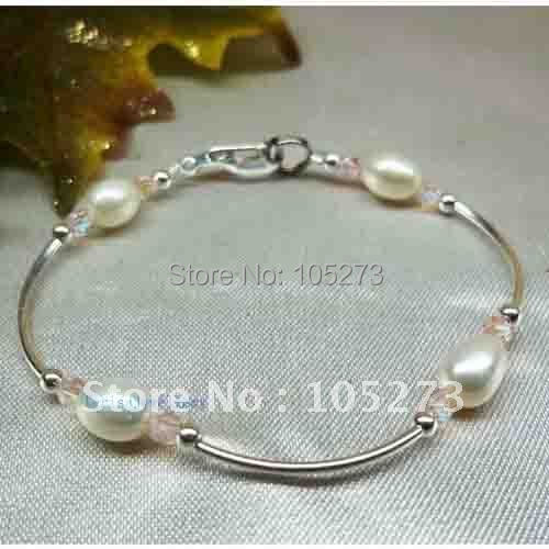 Rosa de cristal e pulseira pérola 925 sterling silver Pltd comprar 3 + 1 meninas livre Childs nova frete grátis FN618
