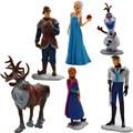 Disney Brinquedos Olaf Congelados Brinquedos 6 Pcs Princesa E Príncipe Elas Conjuntos Dos Desenhos Animados Figuras de Ação Brinquedos de Plástico Ty063