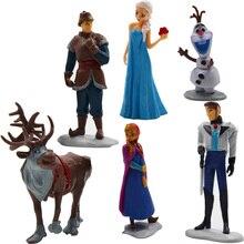 Disney Jouets Congelés Jouets 6 Pcs Princesse Et Prince Elas Olaf Ensembles de Dessin Animé En Plastique Figurines Brinquedos Ty063