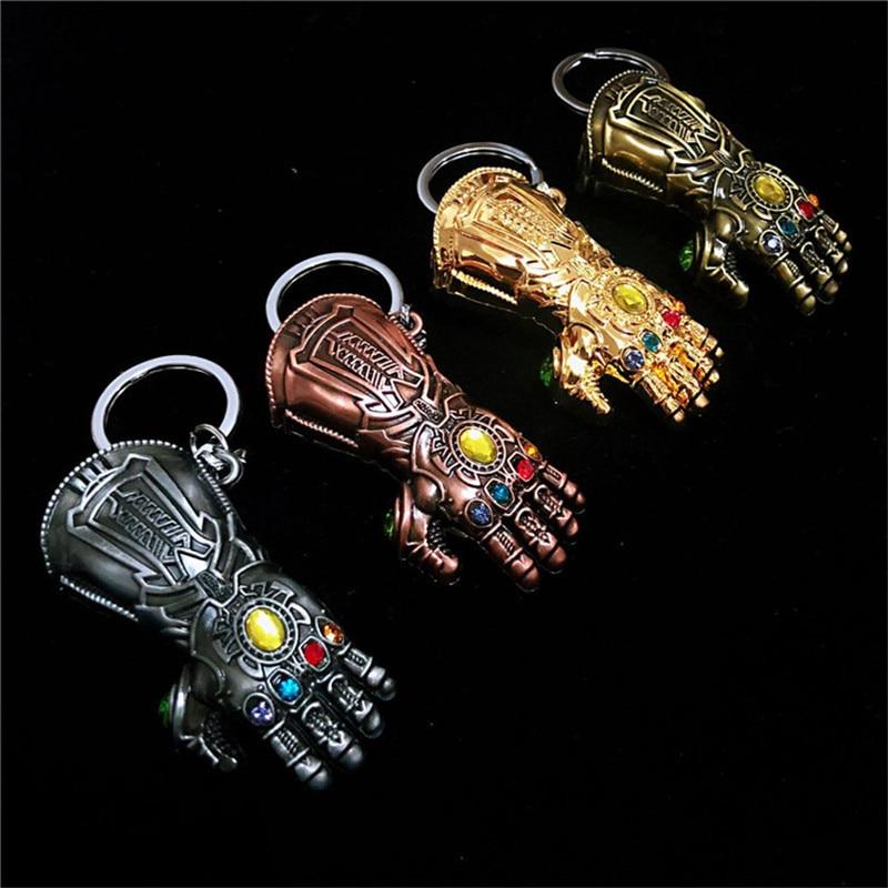 2018 New Marvel Avengers 3 Thanos Infinity Glove Gauntlet Keychain Anime Key Ring For Gift Chaveiro Key Chain Jewelry Porte Clef