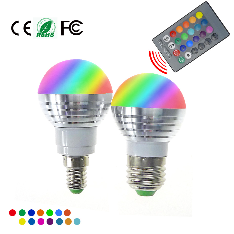 buy led rgb bulb lamp e27 e14 ac85 265v 3w led rgb spot blubs light magic. Black Bedroom Furniture Sets. Home Design Ideas