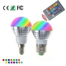 RGB LED Лампа E27 E14 AC85-265V 5 Вт LED RGB пятно Blubs Свет Волшебный Праздник RGB освещение + ИК-Пульт Дистанционного Управления 16 цвета