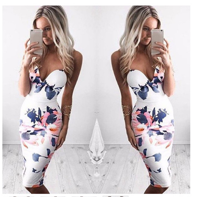 Bigsweety Sexy Women Dress Summer Floral Print Spaghetti Strap V-Neck Dress Ladies Party Bodycon Sheath Slim Dress Vestidos