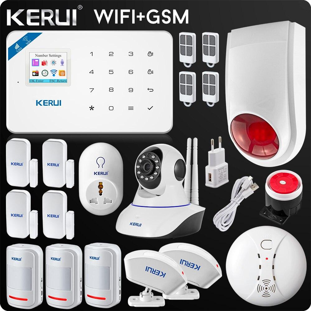 Kerui Wifi GSM домашняя охранная сигнализация ISO Android приложение TFT сенсорная панель охранная сигнализация Wifi ip-камера