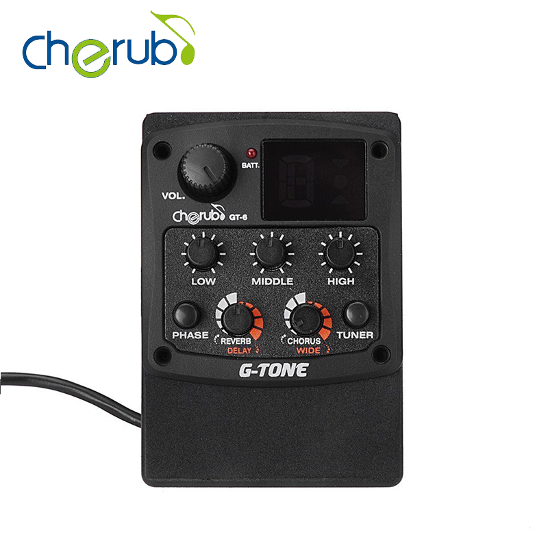 Cherub G-Tone GT-6 Acoustic Guitar Preamp Piezo Pickup 3-Band EQ Equalizer LCD Tuner with Reverb/Delay/Chorus/Wide Effects 4 band eq 7545 guitar piezo preamp amplifier equalizer tuner for acoustic guitar comp parts