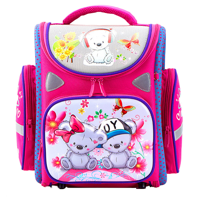Cartoon School Bags Orthopedic School Backpacks for Girls Boys Bear Tank Car Pattern Backpack Student mochila infantil Grade 1-4Cartoon School Bags Orthopedic School Backpacks for Girls Boys Bear Tank Car Pattern Backpack Student mochila infantil Grade 1-4