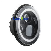 Hot Sale Lantsun Super Bright 40w 7inch Round Hi Lo Led Headlight With Halo Ring DRL