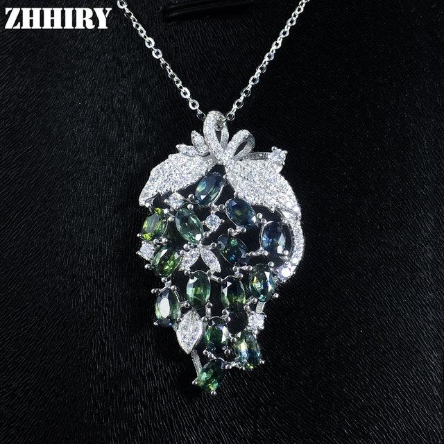 Fantasia Natural Sapphire Gemstone Colar de Pingente de Mulher Genuine Sólido 925 Sterling Silver Pedra Preciosa