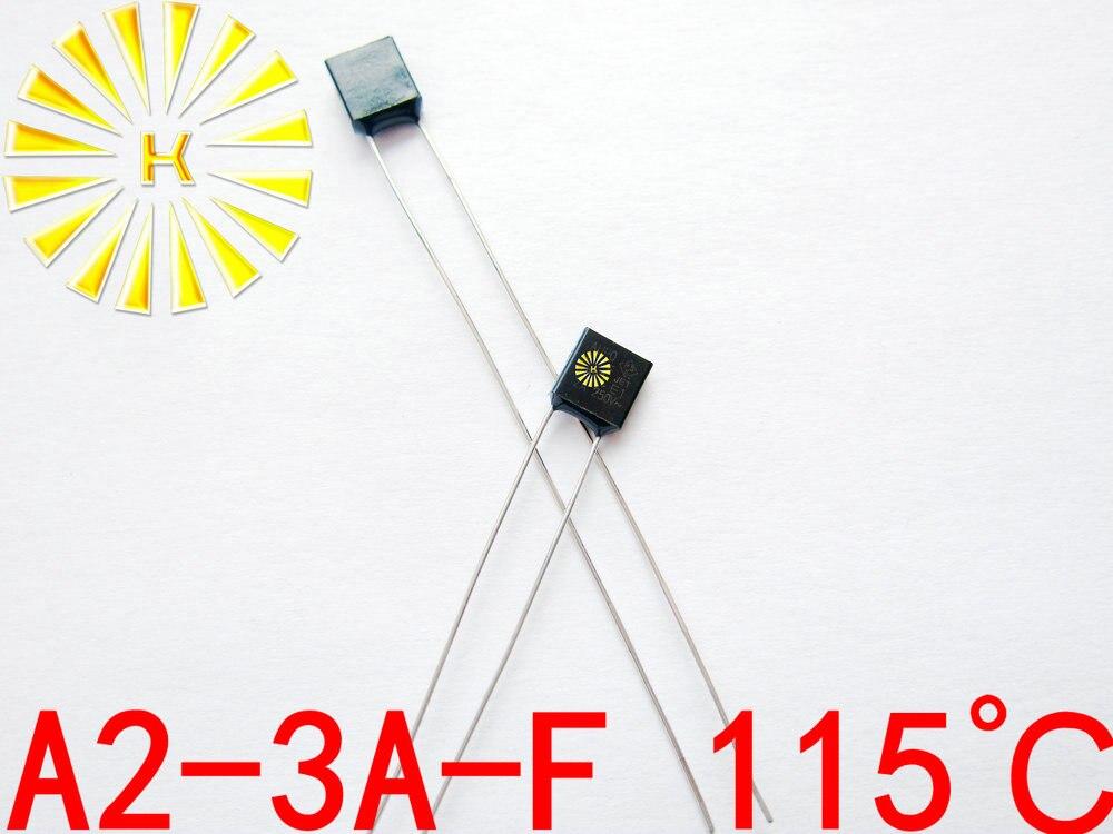 100 Original A2 3A F 115 degree Thermal Cutoff RH115 Thermal Links 3A 250V Black Square
