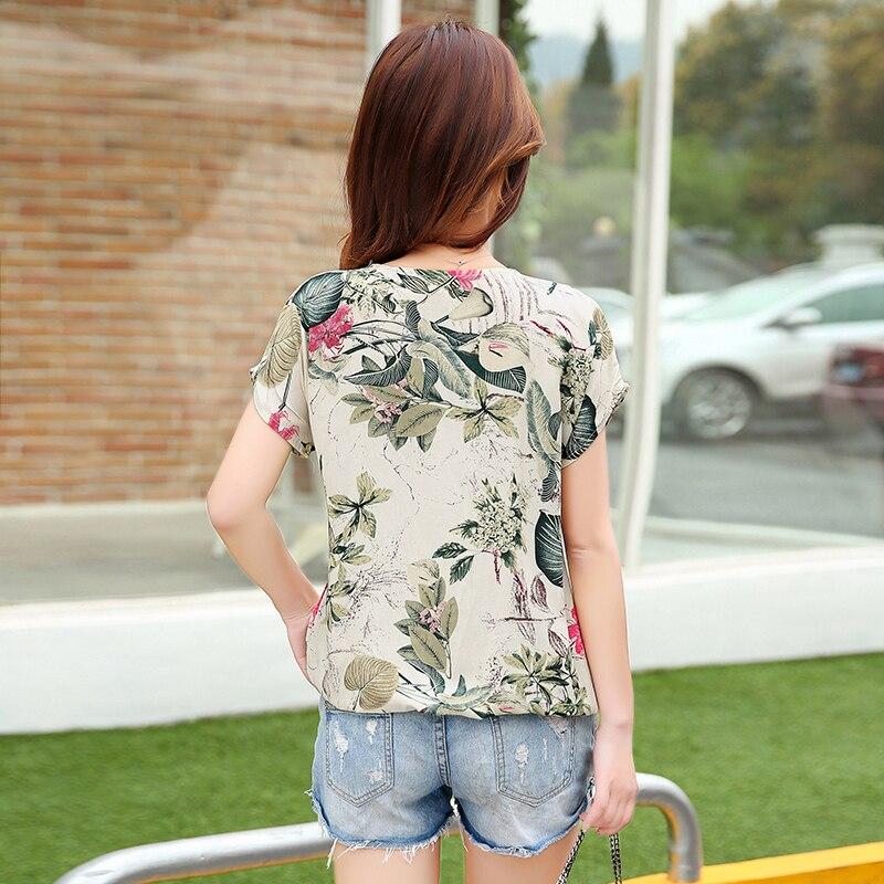 Plus Moda Verano Nueva Coreana 2016 Blusas Señoras Floral Casual Beige Las Impresión Blusa Camisas Mujeres De Tops Femenina xCBvwWHqf