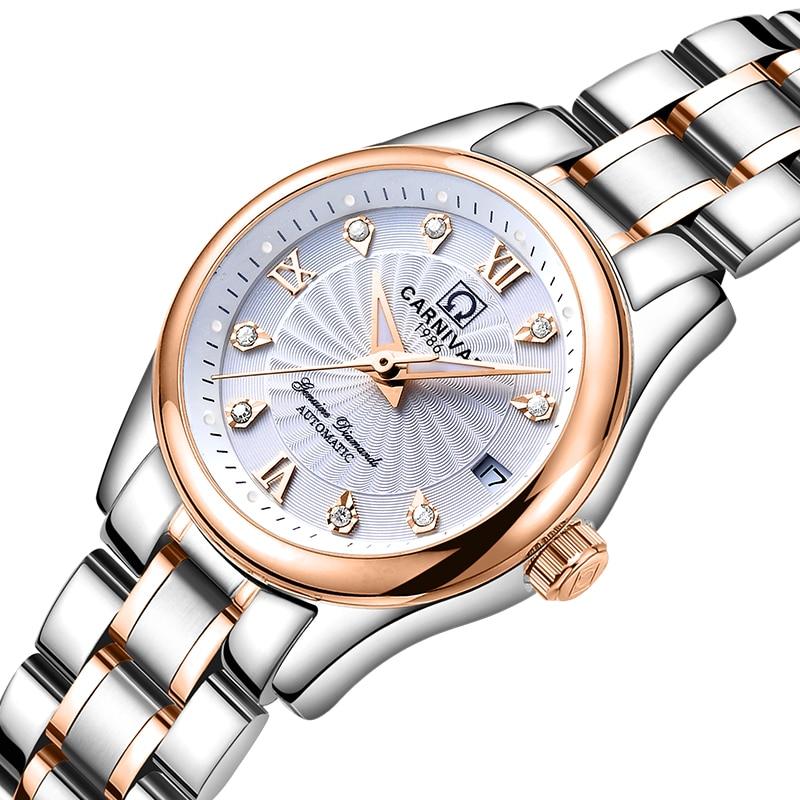 Carnival Women Watches Luxury Brand Ladies Automatic Mechanical Watch Women Sapphire Waterproof Relogio Feminino C-8830-8