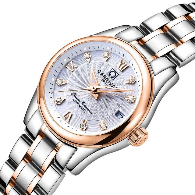 カーニバル女性の腕時計高級ブランド自動機械式時計サファイア防水レロジオ feminino C 8830 8