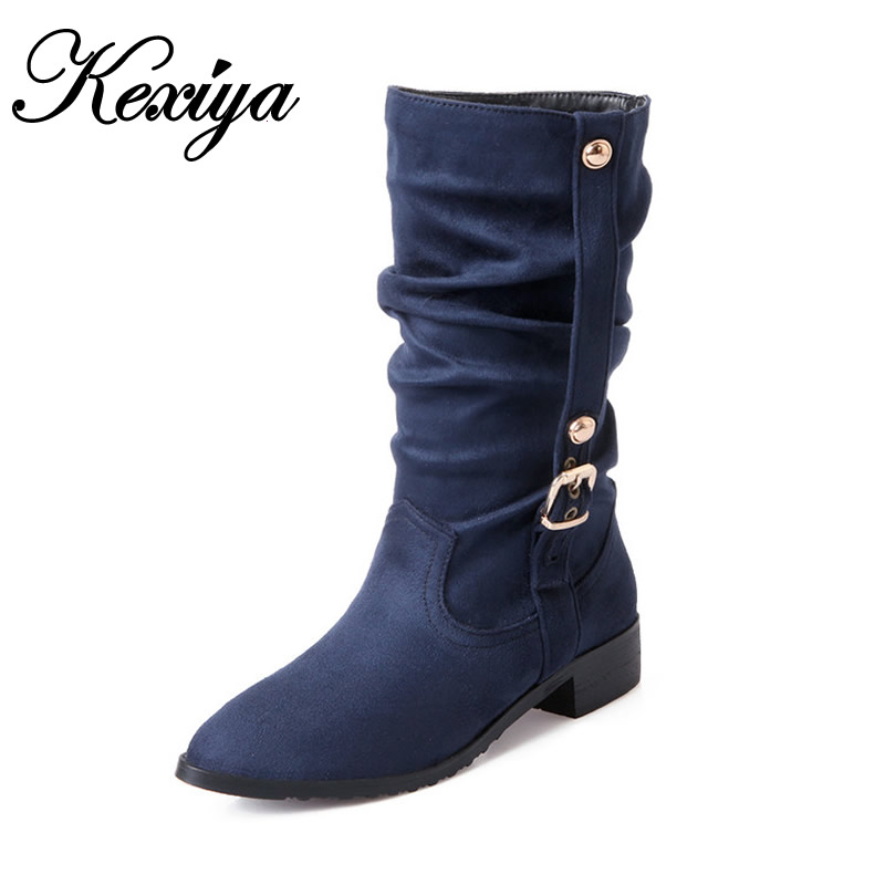 New big size 30-50 fashion winter women shoes Pointed Toe low heel Buckle decoration Slip-On Mid-Calf boots 30 31 32 33 HQW-A70 2016 winter women short snow boots fashion suede round toe low heel shoes big size 30 52 ladies slip on mid calf tassel boots