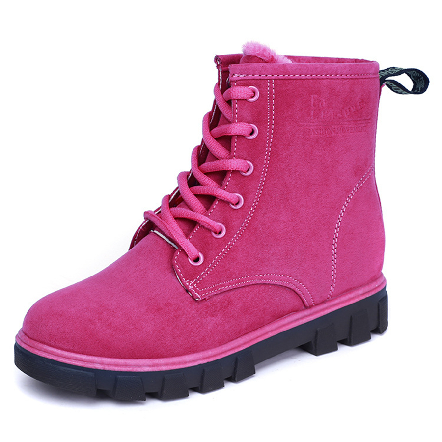 2017 New Women Winter Boots Fashion Zapatos Lace Up Ankle Boots for Women Round Toe Shoes Woman Snow Boots Donna Martin Boots stylish american flag scrawl pattern voile scarf for women
