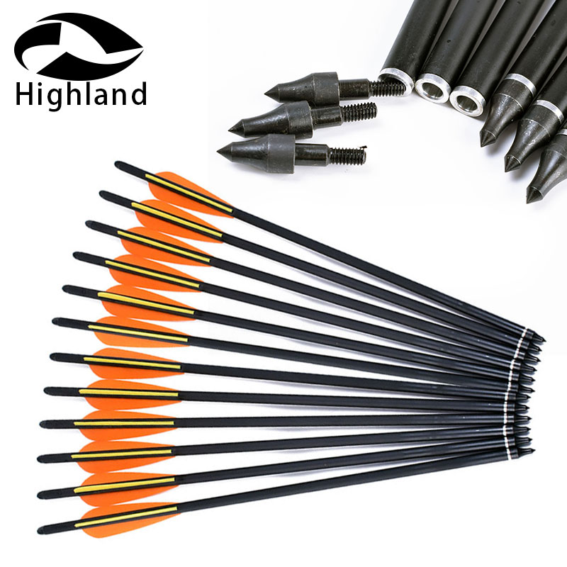 24pcs Hunting Archery Compound Bow Carbon Arrow Crossbow 16inch Orange Yellow Feather Replaceable Arrow