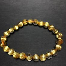 Top Quality Natural Gold Rutilated Quartz Crystal Brazil Gemstone Round Beads Bracelet 7mm Jewelry Certificate AAAAAA