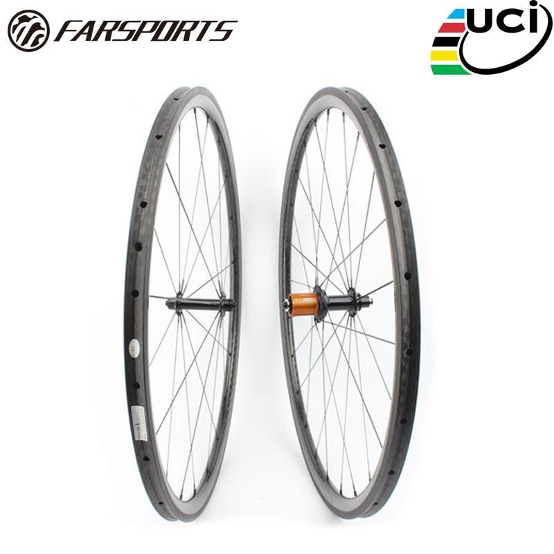 Farsports FSC30-TM-25 ED HUB 700c ruedas de carretera de carbono - Ciclismo
